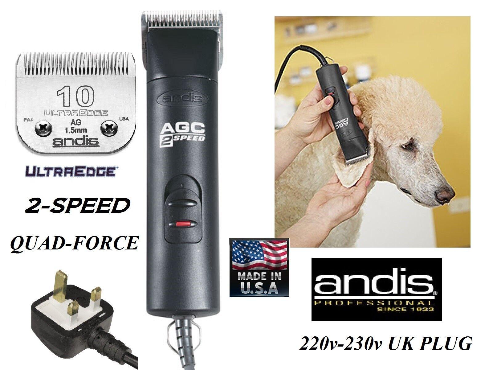 Andis Ultraedge Agc pro 2 Velocità Tosatrice Set&10 Lama 220v 230v 240v Spina UK