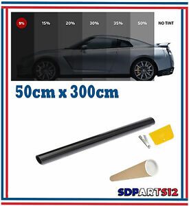 Film-Solaire-De-Qualite-3m-x-50-cm-Teinte-5-VLT-Noir-Auto-Batiment