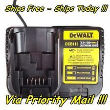DeWalt DCB113 12v 20V 12 20 Volt Max Lithium Ion Battery Charger XR Li-Ion Pack