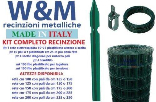 Rete per recinzione plastificata completa kit per 25 mt rete,pali,saette,fili