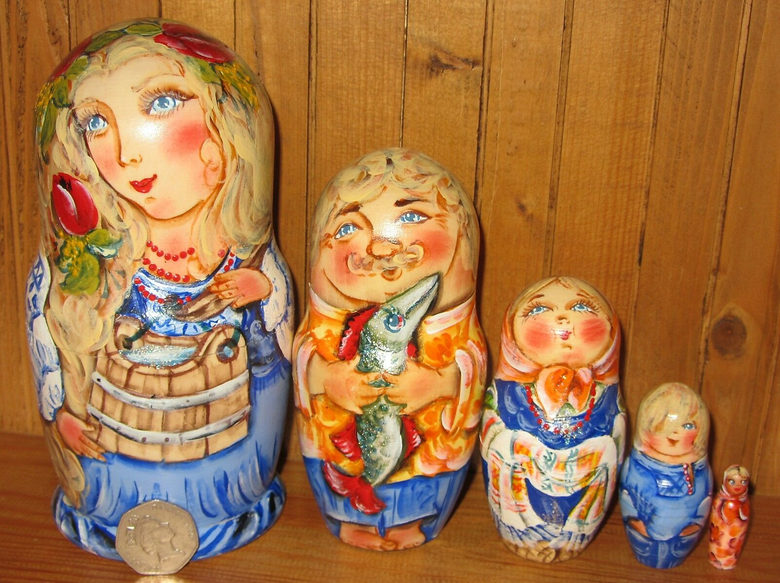 Russian Matryoshka Nesting Doll 5 WASHING FAMILY Mum & Water YOKE signed NINA