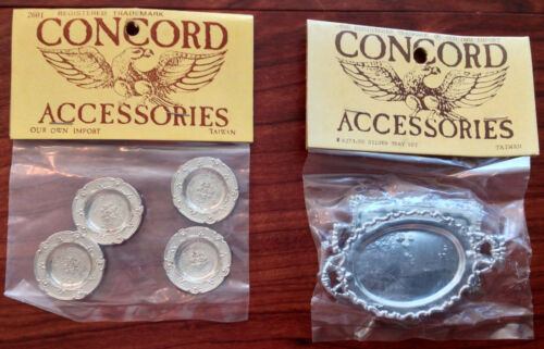 CONCORD ACCESSORIES 2 Silver Trays + 4 Plate Set Doll House Dollhouse Miniatures