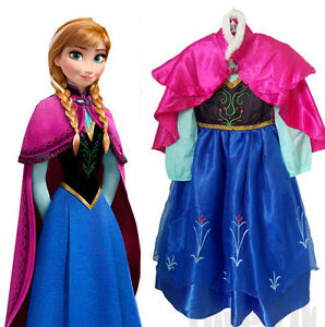 Image is loading Girls-Elsa-Frozen-Dress-Costume-Baby-Princess-Anna-  sc 1 st  eBay & Girls Elsa Frozen Dress Costume Baby Princess Anna Party Dresses ...