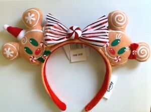 Disney Parks 2020 Minnie Mickey Gingerbread Christmas Ears Headband NEW