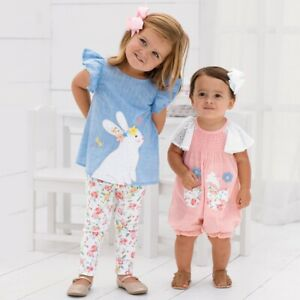 c5a1c85e6 Mud Pie E8 Easter Baby Girl Pink Smocked Bunny Bubble Romper 1132360 ...