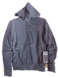 Mens-Salvage-Brand-black-zipper-Hoodie-jacket-leather-design-rage-SZ-M-NWT