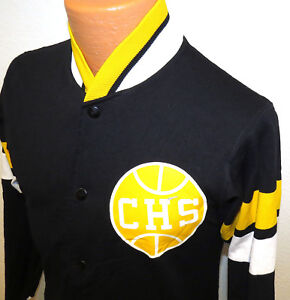 vtg-CHS-BADGERS-Black-Track-Jacket-sz-36-high-school-70s-basketball-team-issue-S