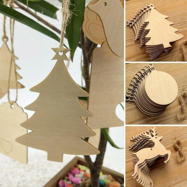10PCS Christmas Decoration Tree Wooden Blank Painting Engrave DIY Craft Hanging