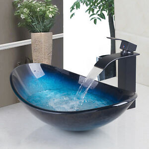 Oval Tempered Glass Bathroom Vessel Sink Washroom Blue Vanity