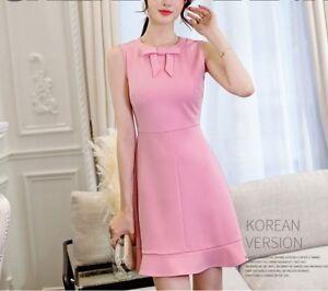 Cute Sweet A Line Korean Fashion Sleeveless Bowknot Slim Casual Summer Dress Ebay