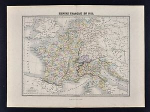 1877-Migeon-Map-France-in-1811-Italy-Germany-Belgium-Holland-Napoleon-Europe