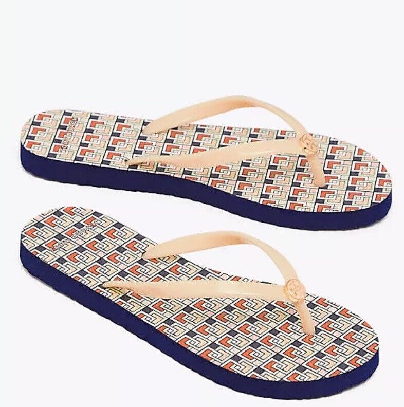 Tory Burch Printed Thin Flip-Flop in Coy Pink Picnic Box Size 7