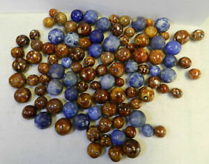 12376m-Vintage-Group-or-Bulk-Lot-of-100-German-Handmade-Bennington-Marbles