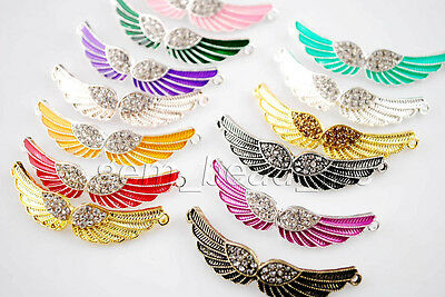 1Pcs Angel Wing Enamel Bracelet Link Connectors Necklace Charms Pendants 54mm