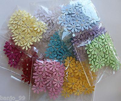 50 x Paper Flower Daisy Embellishments Cardmaking Scrapbooking Decoration 2.5cm