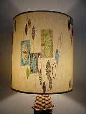 LAMP SHADE RETRO MODERN CONTEMPORARY GEOMETRIC LEAF AQUA BROWN LIME GREEN VTG