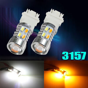 2x-3157-White-Amber-Dual-Color-Switchback-LED-Turn-Signal-Light-Bulbs-Resistor