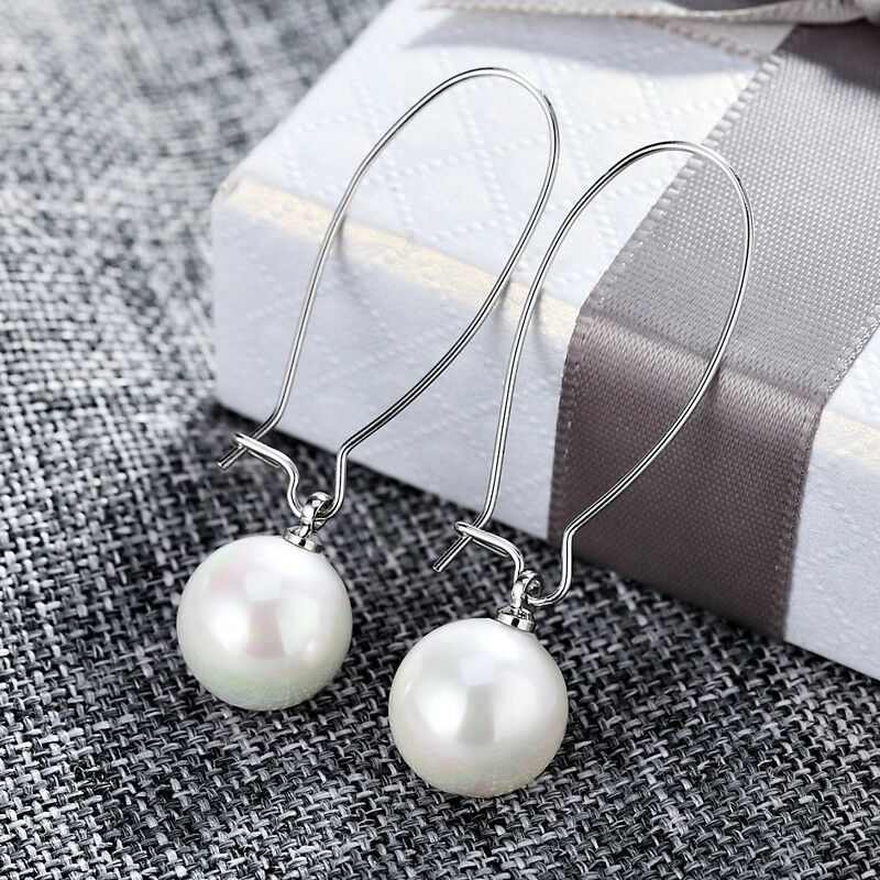 18K White Gold Filled Most Popular Simulated White Pearl Oval Hoop Earrings