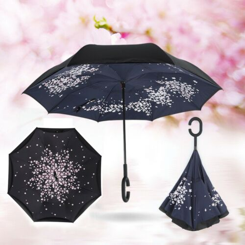 C-Handle Upside Down Inverted Double Layer Umbrella Windproof Reverse-Design UK