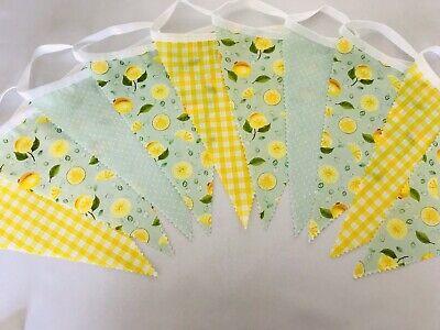 Lemon Mojito Fabric Bunting Lemons Mint /& Yellow Party Decor Various Sizes