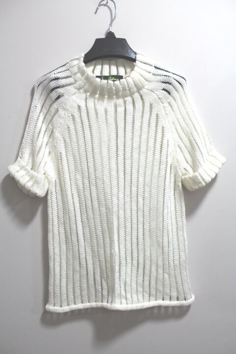 New Sam Edelman Short Sleeve Pointelle Stripe Sweater IVORY Small  (Retail   99)
