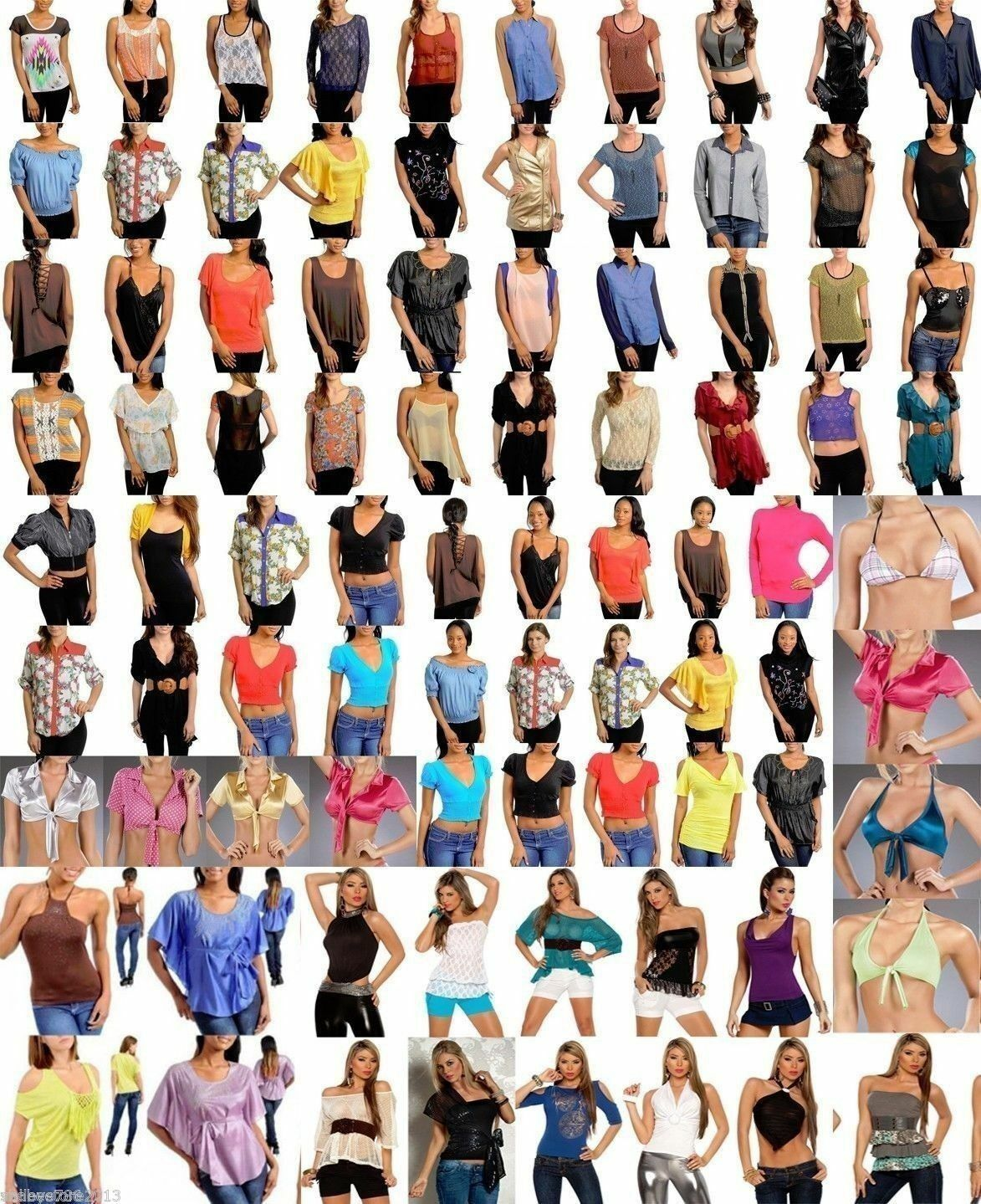 Lot 20 Pieces Wholesale Women's Blouses T Shirts Tops Shrug Bolero Fashion S M L