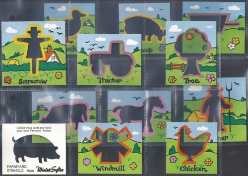 D12 CARDS MISTER SOFTEE-FULL SET FARMYARD STENCILS EXC+++