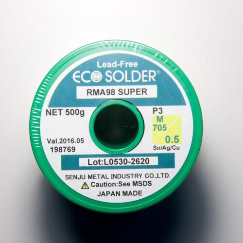 1.1 lb SENJU SMIC Lead-free Solder Wire ECO Solder RMA98 SUPER Flux Cored 0.5mm