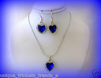 Heart Of The Ocean Blue Crystal Titanic Necklace Earrings Set