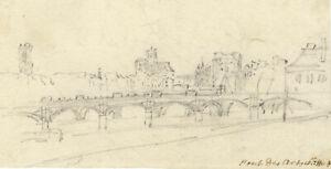 George Arnald ARA, Pont des Arts & Pont Neuf, Paris – c.1818 graphite drawing