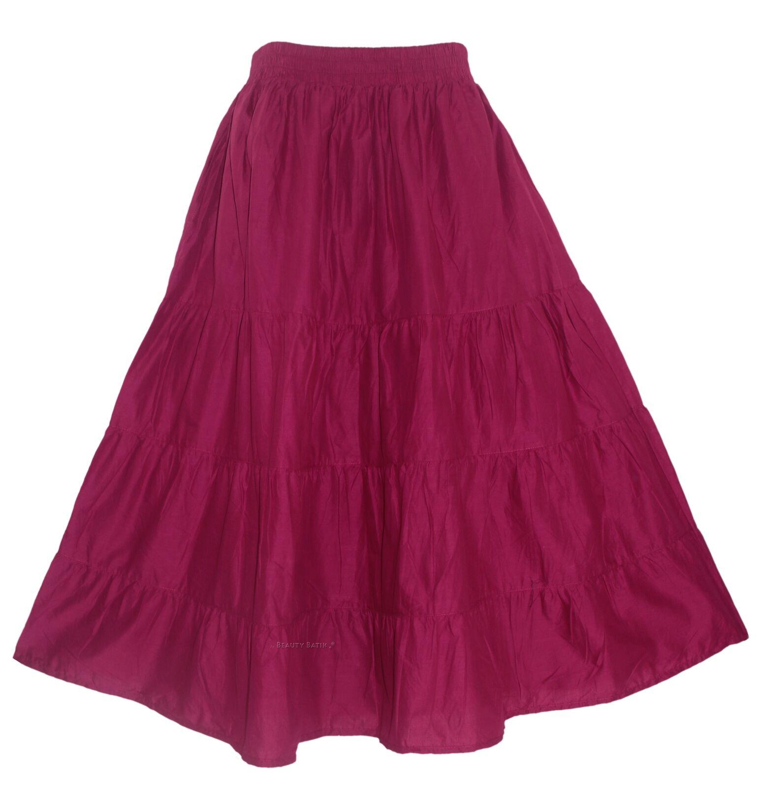 Purple plum Women Cotton BOHO Gypsy Long Maxi Tier Flare Skirt XL 18