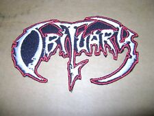 OBITUARY,IRON ON WHITE WITH RED EDGE EMBROIDERED PATCH