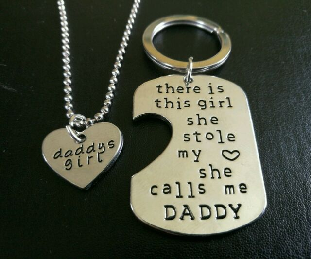 2PCs Keyring AND Pendant Necklace Set Daddy's Girl Father Daughter christmas 605