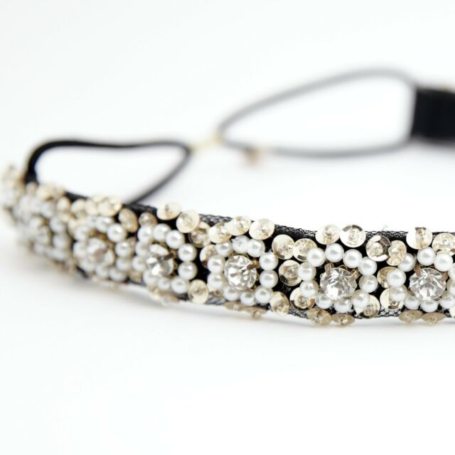 Handmade Flower Ornamented by Pearl Cubic Sequin Spangle Elastic Headband