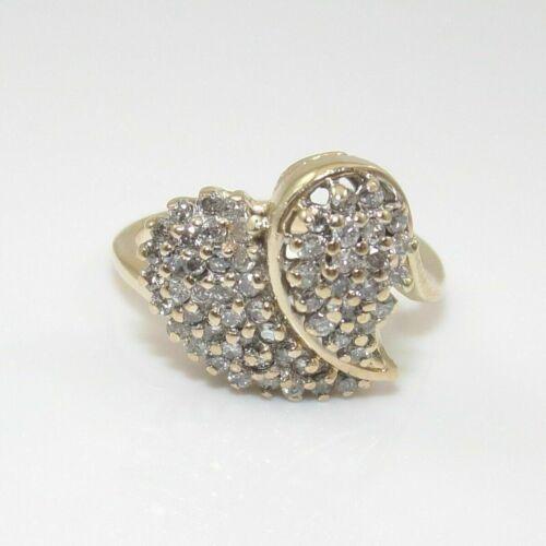 Women/'s 1.44 Ct Round Cut VVS1 Diamond Heart Cluster Ring 14K Yellow Gold Finish
