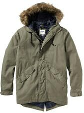 NEW Men's Canvas Parka Hooded Winter Coat Old Navy Jacket Military Green LARGE