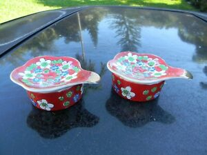 2-TEA-STRAINERS-RED-amp-GOLD-JAPAN-NOT-INTENDED-FOR-FOOD-USE-CERAMIC-WITH-TOPS