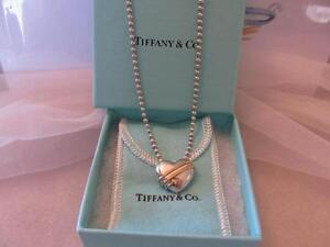 Tiffany Co Vintage Heart Arrow Sterling Silver 18 K Y G Bead Necklace Ebay