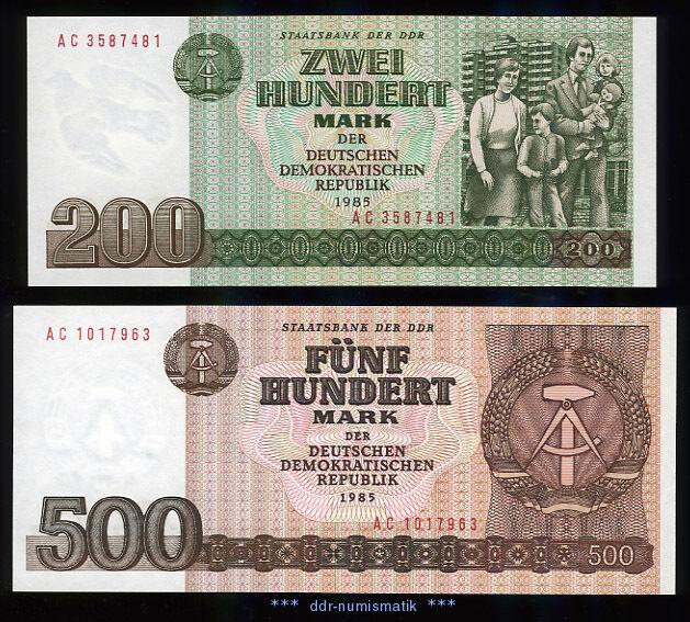 DDR 200 + 500 Mark 1985 *** UNC./ KASSENFRISCH !