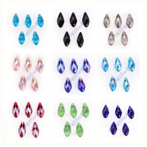 10pcs Faceted Teardrop Pendentif Boucle d/'oreille Findings Spacer Beads 8x16mm Charms