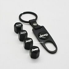 Black Auto Car Wheel Tyre Tire Valve Dust Stems Air Caps Keychain JEEP Emblem
