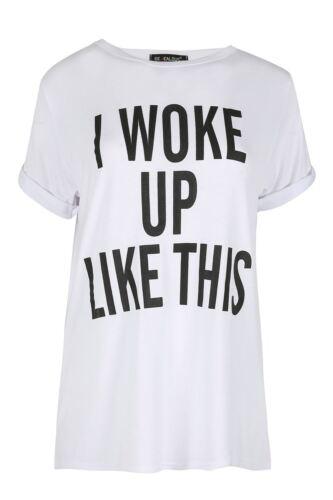 Donna mi sono svegliato come questa Stampa Scollo Tondo Maniche Arrotolate Top T Shirt