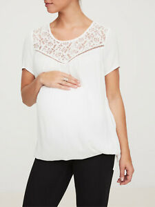 NEW-Mamalicious-Maternity-Top-Cream-Lace-Trim-Tie-Belt-32-RRP-UK-SELLER