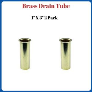"Brass Drain Tube 1/"" X 3/"" Boat Transom 2 Pack"