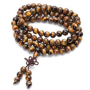 Unisex-Natural-Tiger-Eye-Bracelet-Wrist-Necklace-Buddhist-Beads-Paryer-Mala-Cuff
