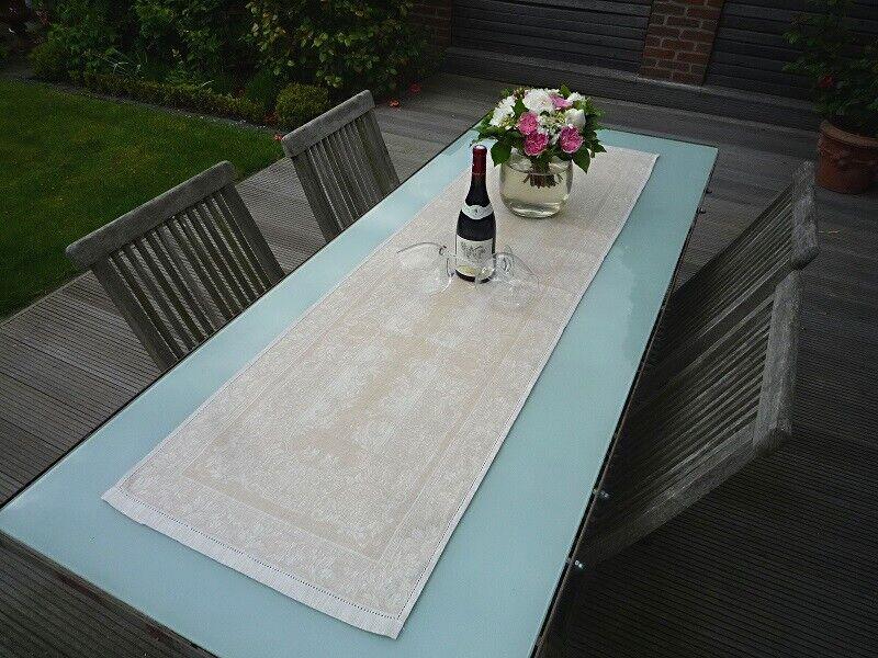 Table Coureur Jacquard lin 50x170 cm naturelle avec lianes motifs et creux