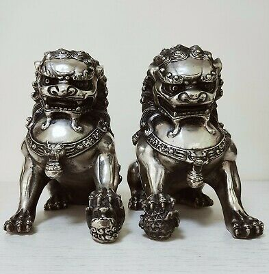 8inch Big Tibet silver Fu Foo Dog Guardian lion argent Statue Pair