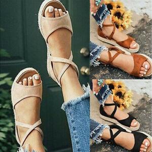 Women-Bandage-Flat-Espadrille-Ankle-Strap-Sandals-Platform-Summer-Shoes-Size