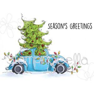 """Stempel """"Christmas bug"""" Stamping Bella, Weihnachtsbaum im Auto"""