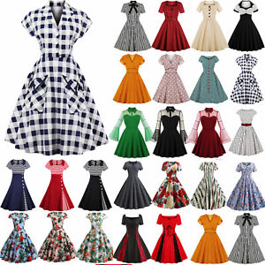 Womens-50s-60s-Vintage-Style-Pinup-Swing-Party-Rockabilly-Housewife-Dress